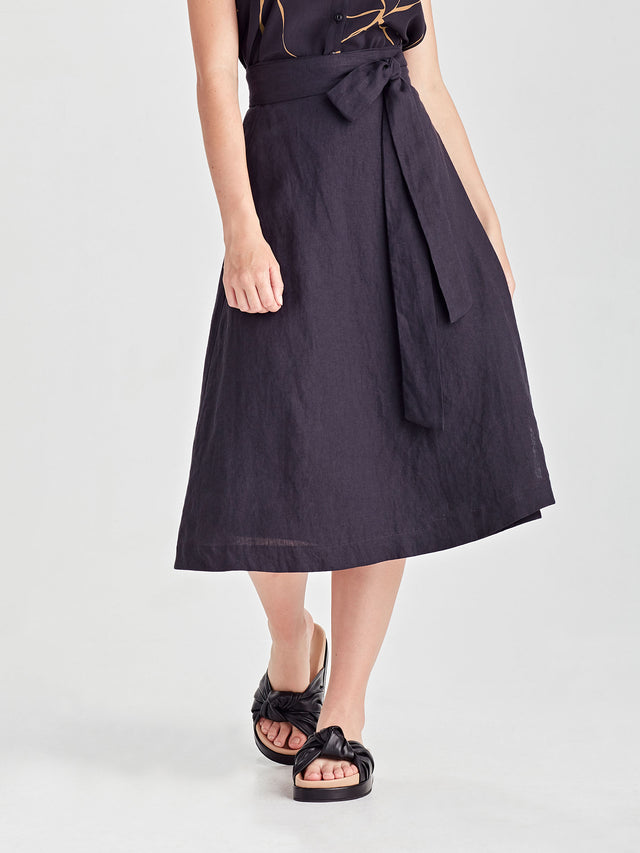 Cassidy Wrap Skirt (Summer Linen) Ink