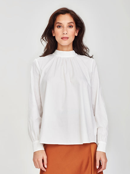 Alice Blouse (Cotton Crepe) White