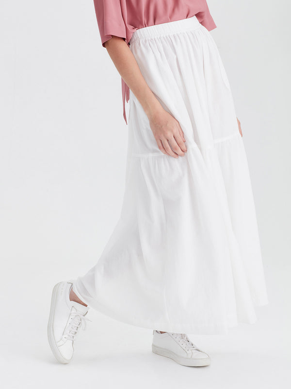 Aran Skirt (Chiffon Shirting) White