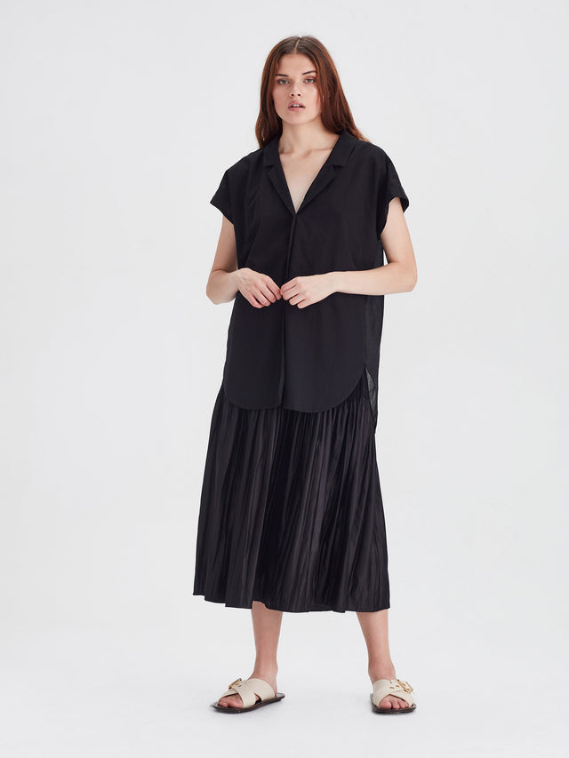 Margie Shirt (Chiffon Shirting) Black