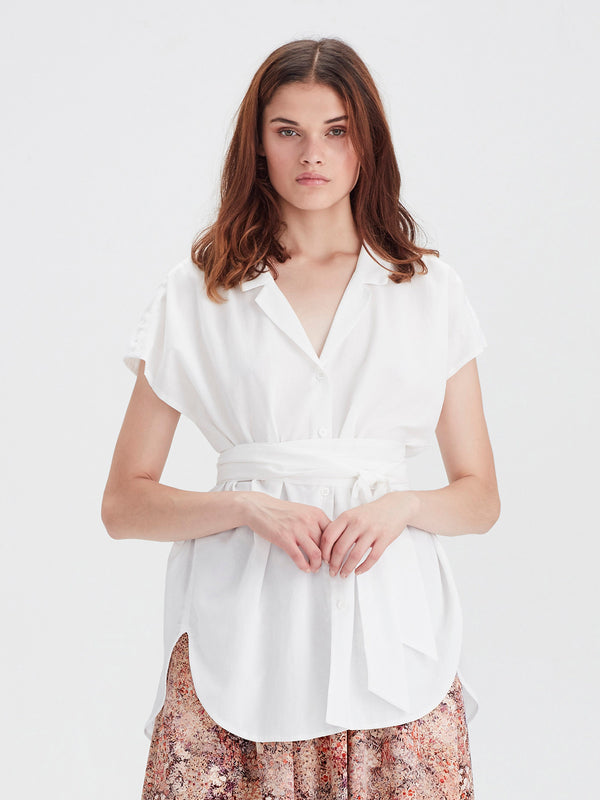 Margie Shirt (Chiffon Shirting) White