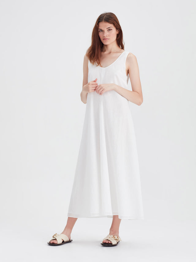 Vanessa Dress (Chiffon Shirting) White