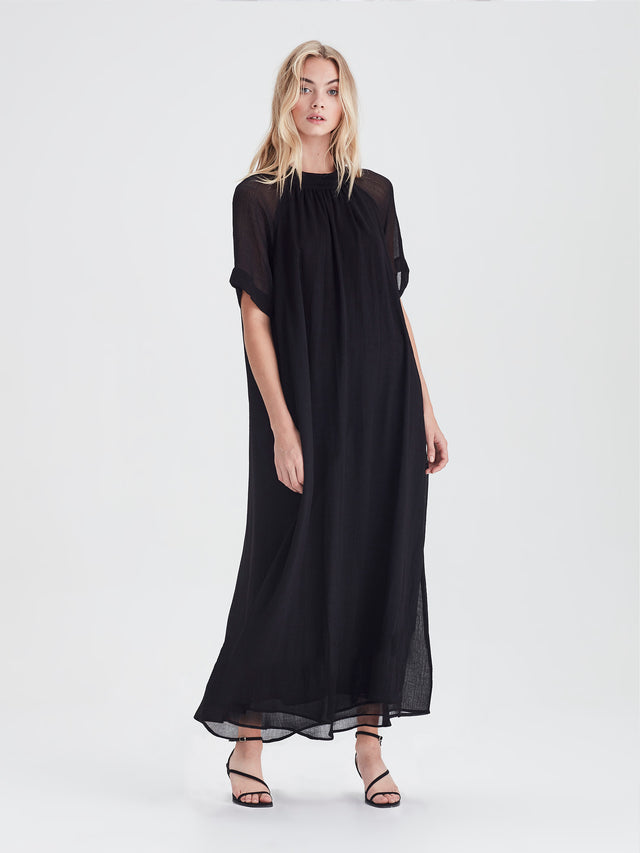 Athena Dress (Crinkle Gauze) Black
