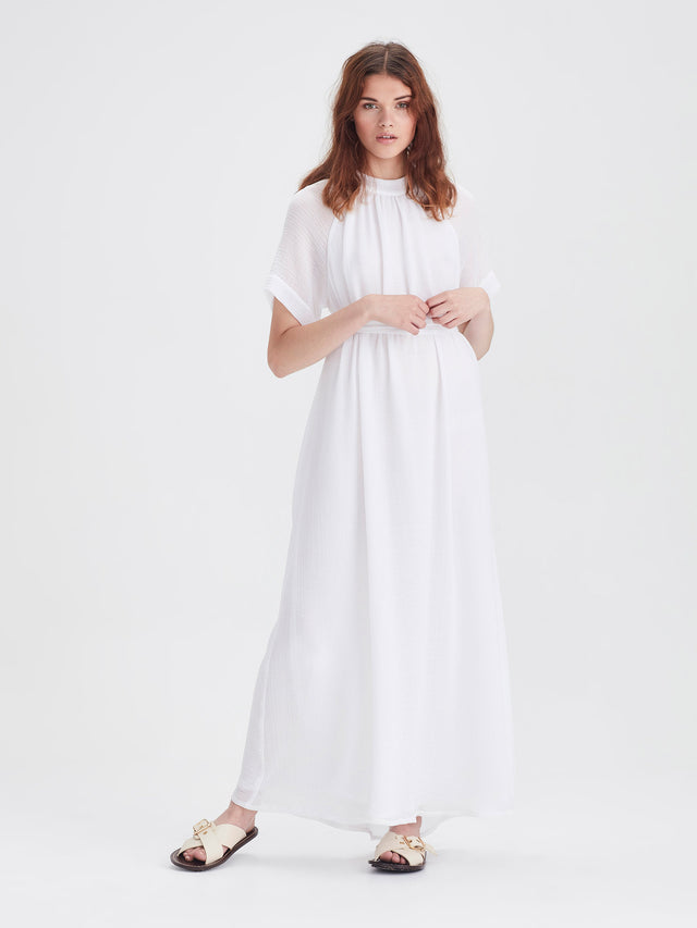Athena Dress (Crinkle Gauze) White