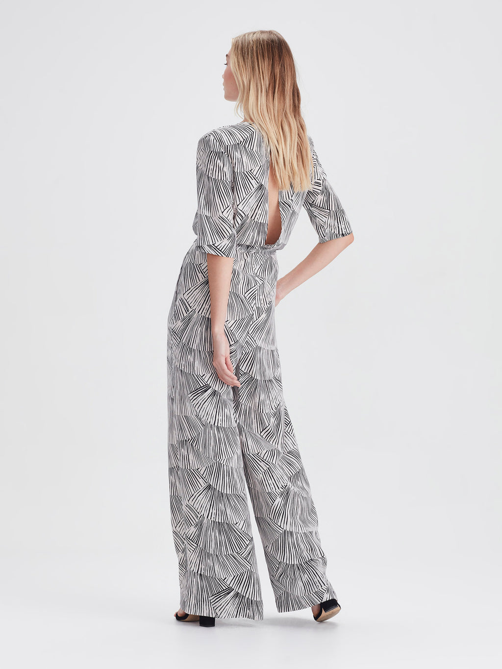 Belle Jumpsuit (Fan Silk) Black/Chalk