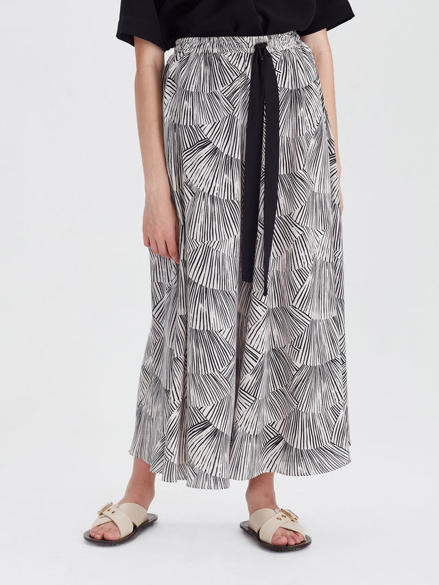 Valerie Skirt (Fan Silk) Black/Chalk