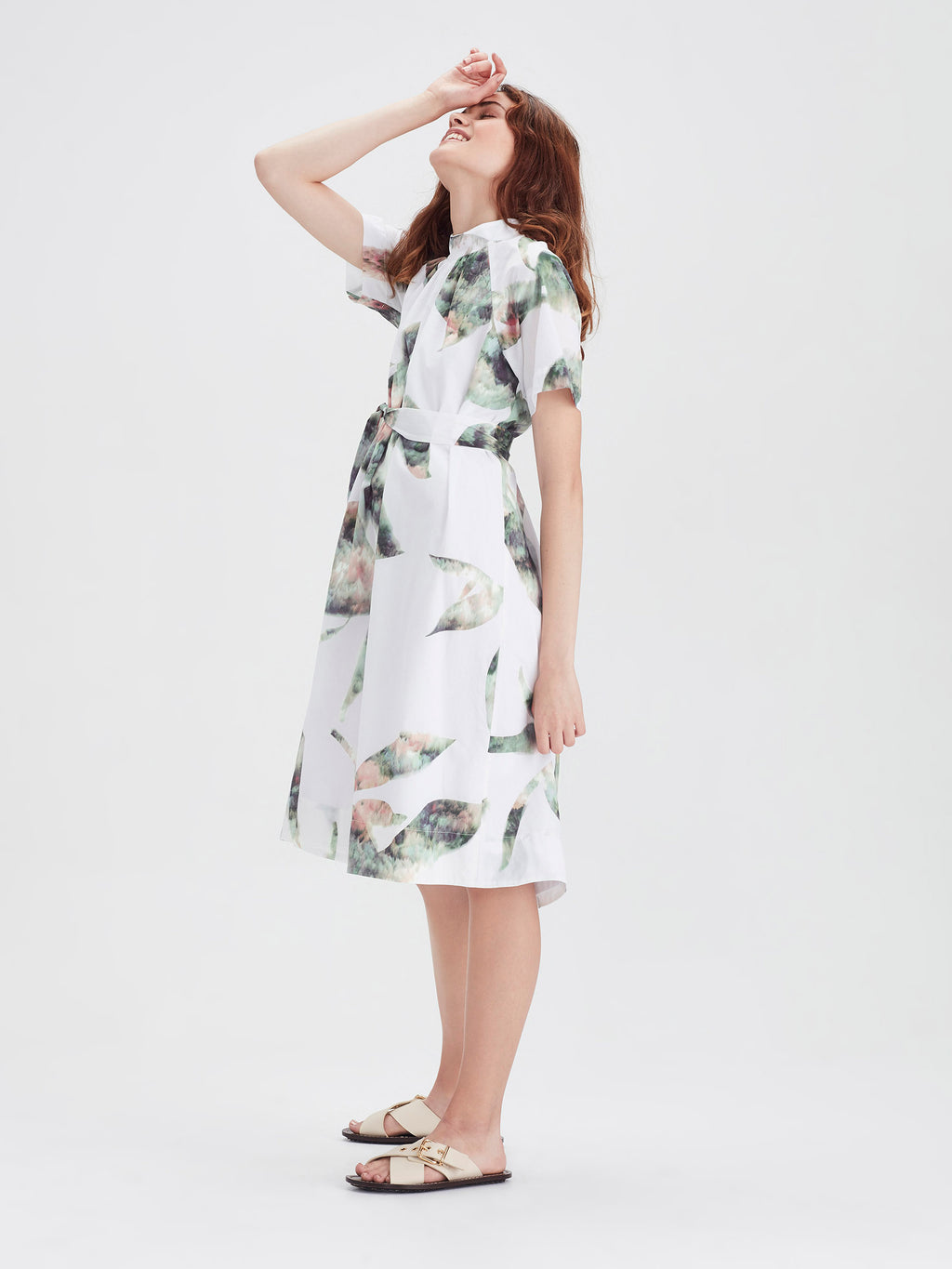 Aria Dress (Lotus Collage Cotton) White Lotus