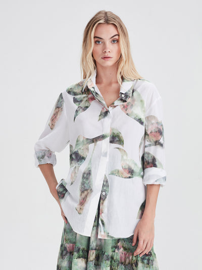 Beau Shirt (Lotus Collage Cotton) White Lotus