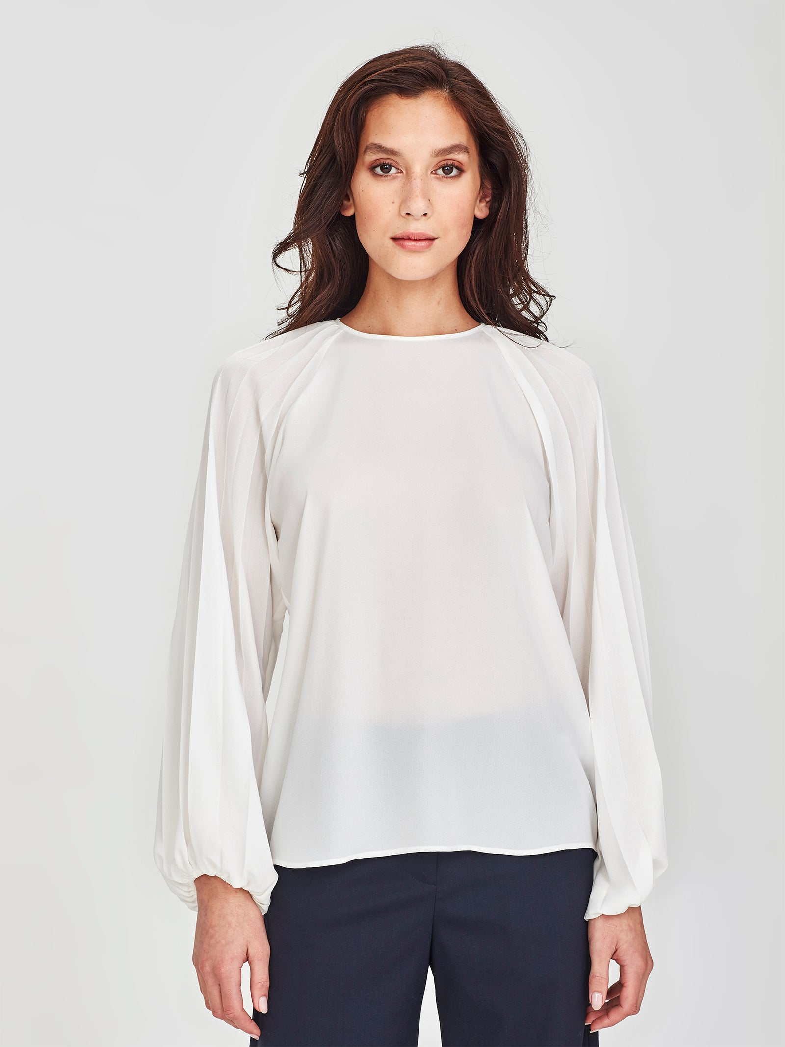 Cameron Pleat Blouse (Matte Pleat) White