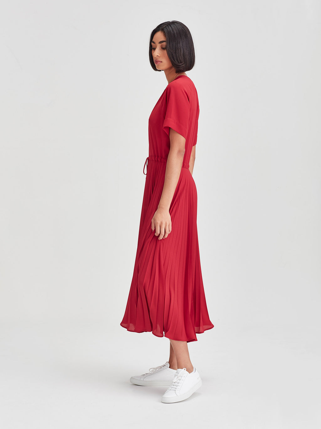 Gracie Pleat Dress (Matte Pleat) Carmine