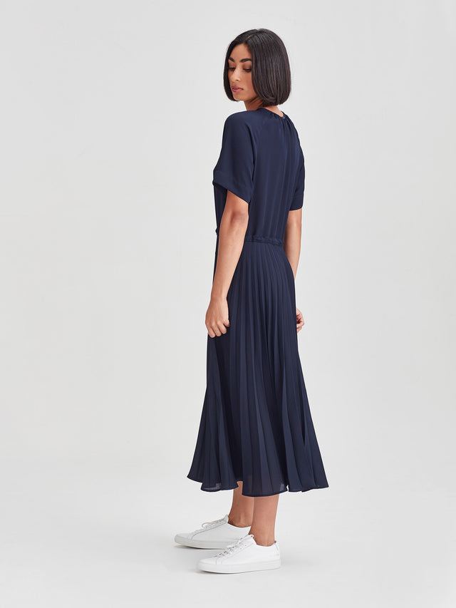 Gracie Pleat Dress (Matte Pleat) Navy