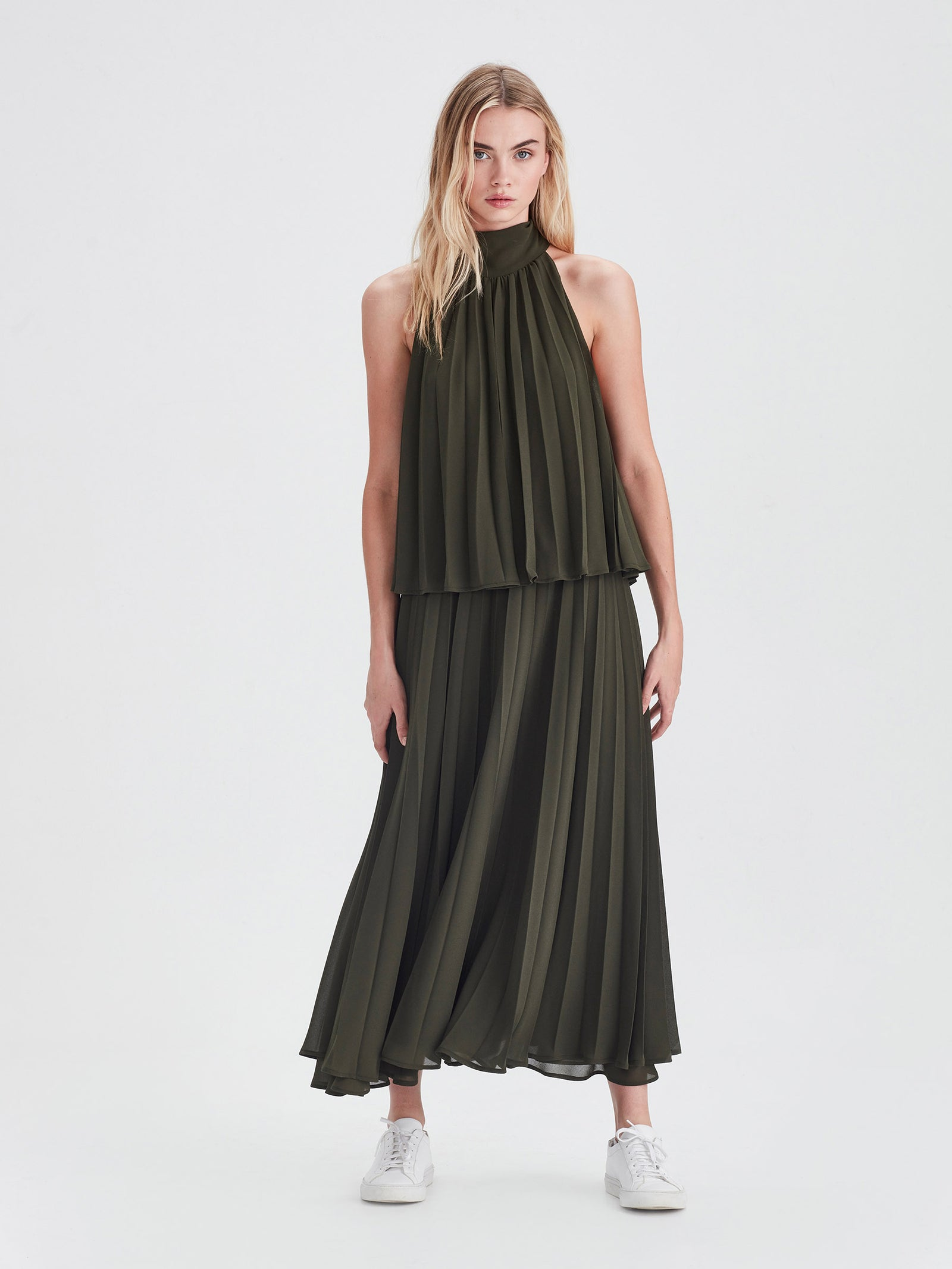 Amaya Pleat Dress (Pleated Chiffon) Nori
