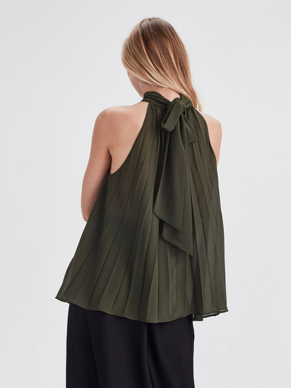 Elena Pleat Blouse (Pleated Chiffon) Nori