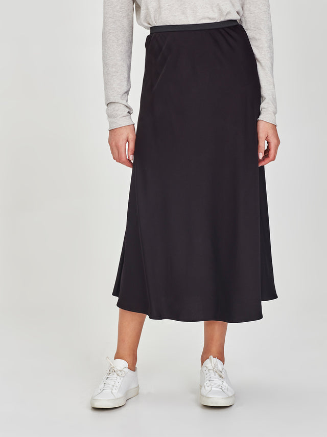 Sana Skirt (Stretch Satin) Black