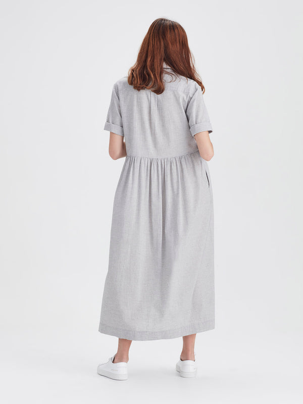 Milicent Shirtdress (Stripe Cotton Gauze) Grey/White