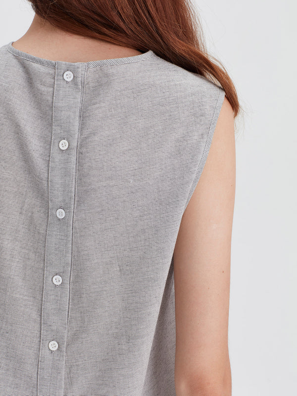 Tia Blouse (Stripe Cotton Gauze) Grey/White