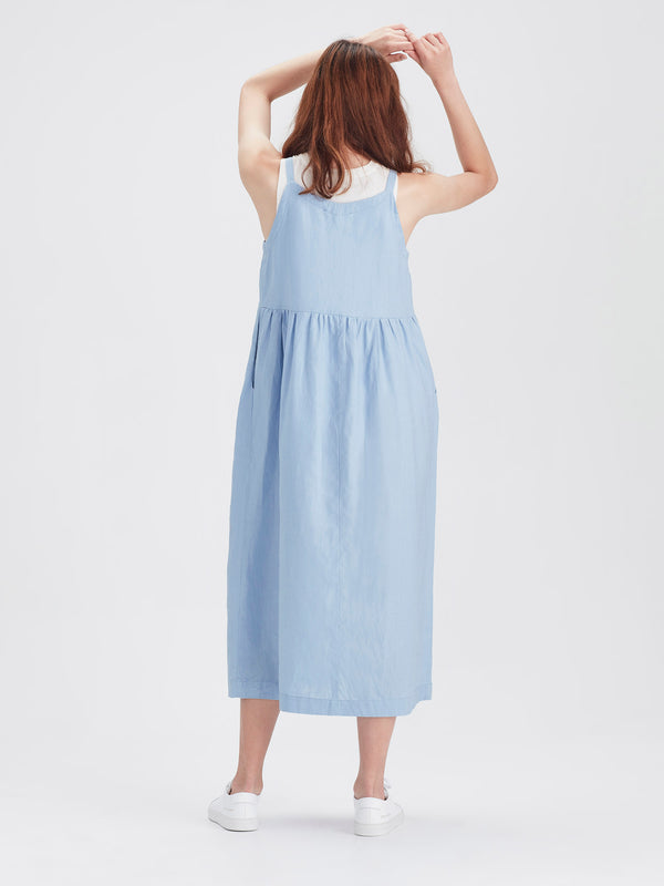 Fern Pinafore (Tinted Linen) Baby Blue