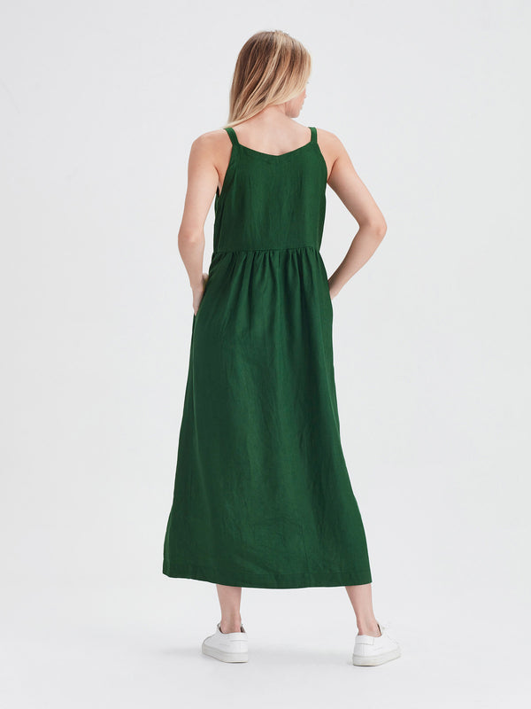 Fern Pinafore (Tinted Linen) Emerald