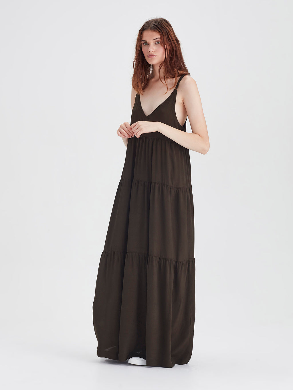 Anmari Dress (Viscose Silk) Olive