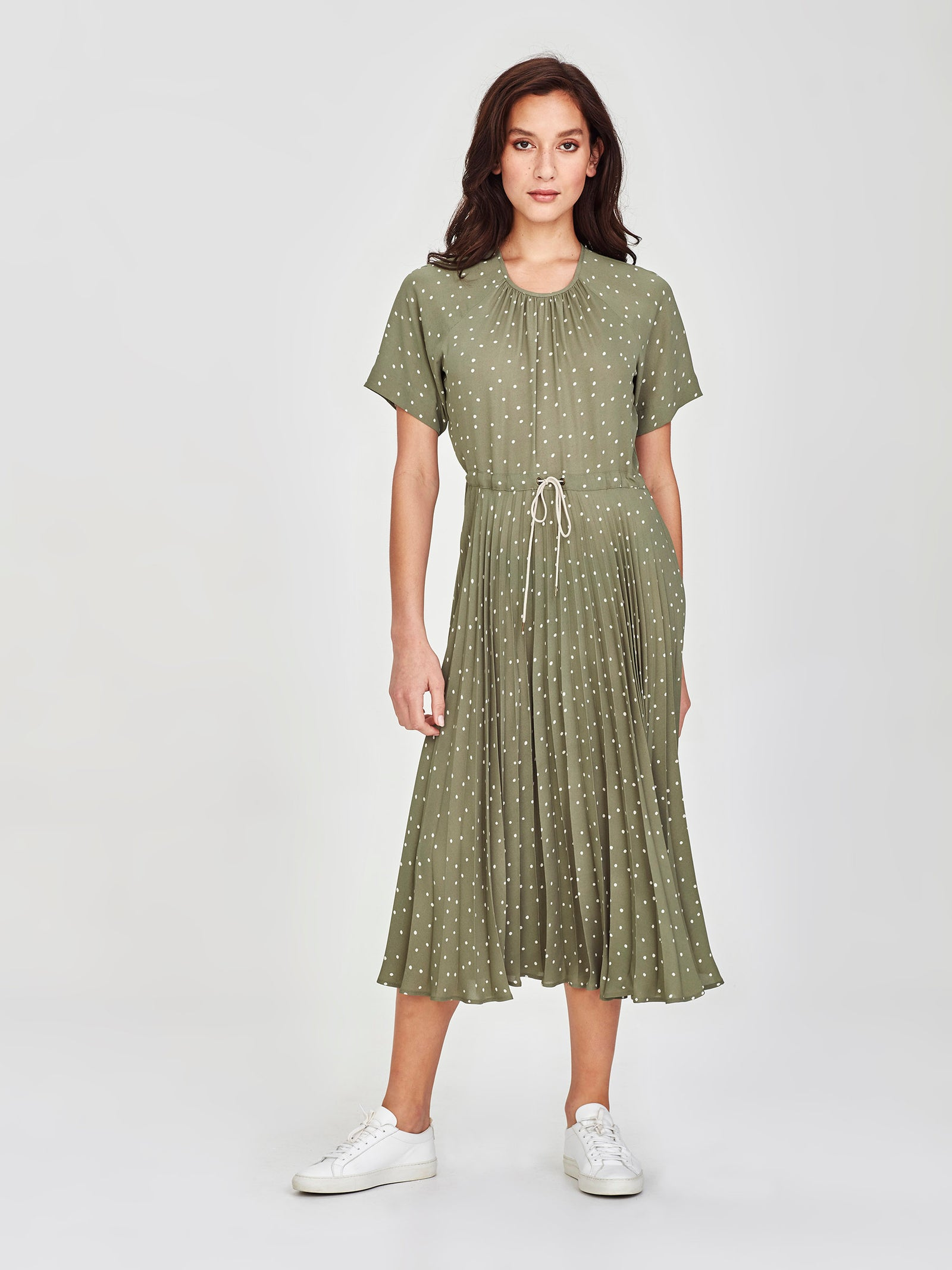 Gracie Pleat Dress (Spotty Crepe) Sea Green