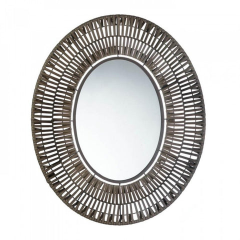 Faux Rattan Oblong Wall Mirror