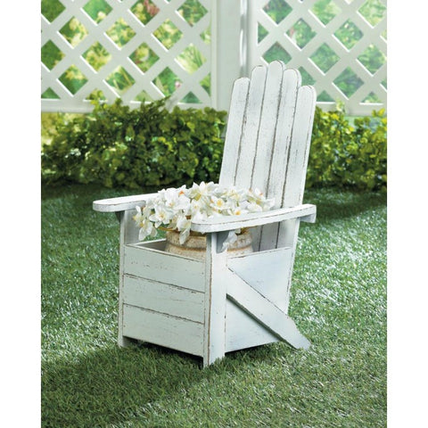 White Adirondack Chair Planter
