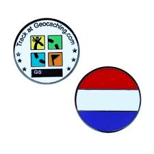 Netherlands Flag Micro geocoin - Black Nickel