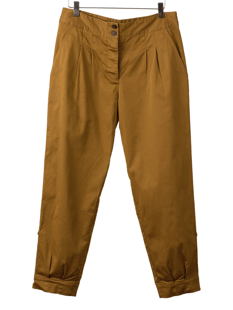 DARK KHAKI PLEAT FRONT PANTS, Hickman & Bousfield - Hickman & Bousfield
