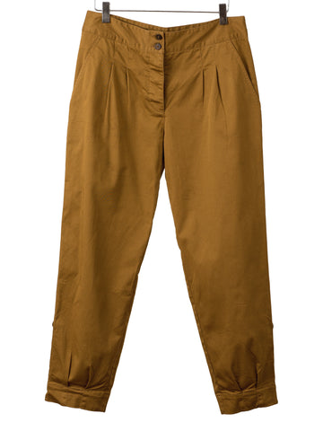DARK KHAKI PLEAT FRONT PANTS