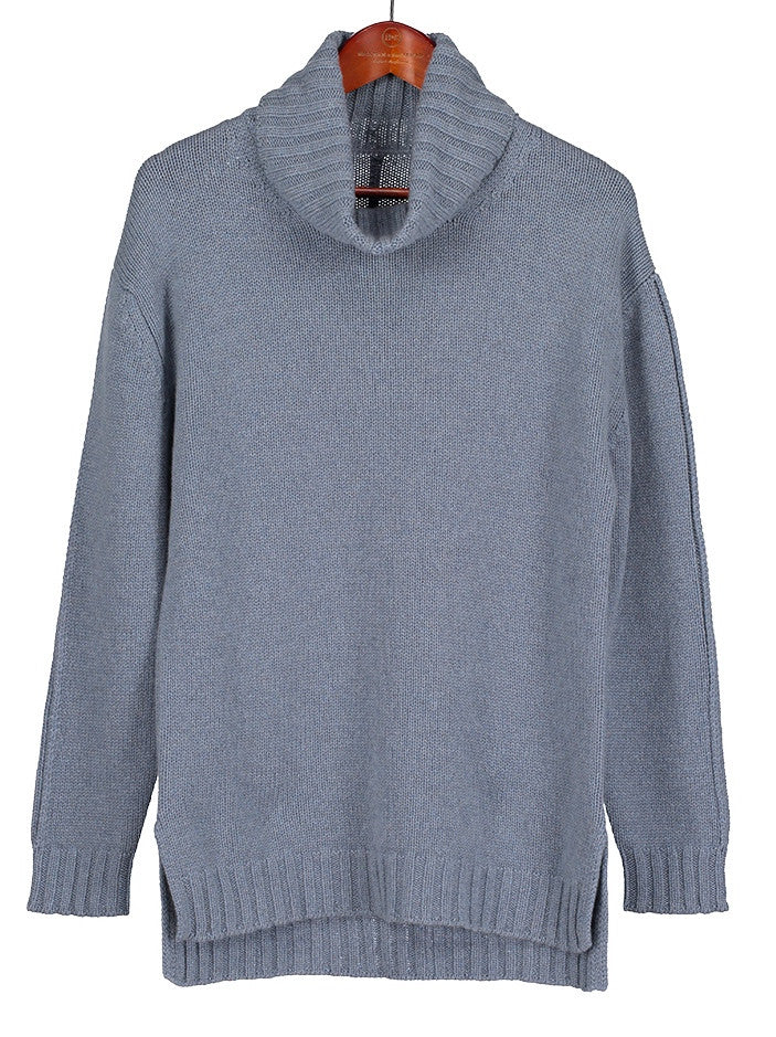 Roll Neck Cashmere Jumper in Cornflower Blue, Hickman & Bousfield - Hickman & Bousfield, Safari and Travel Clothing