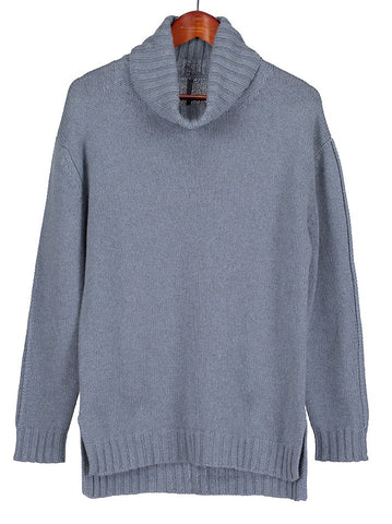 Womens Roll Neck Cashmere Jumper in Cornflower Blue