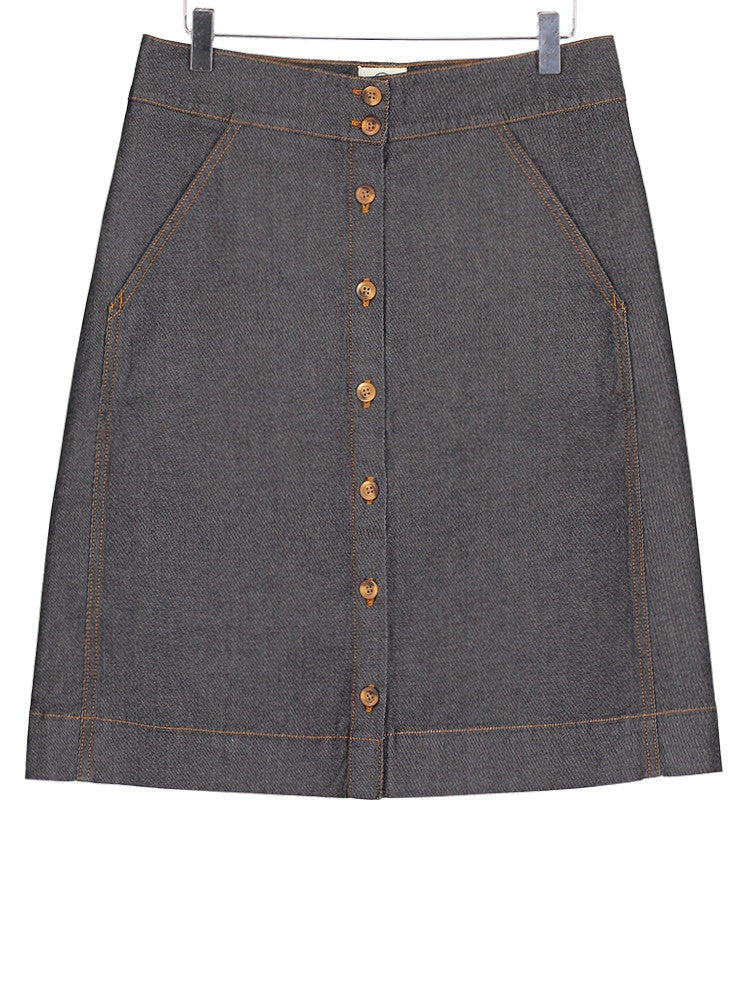 Button Through Skirt - Denim, Dress, Hickman & Bousfield - Hickman & Bousfield, Safari and Travel Clothing
