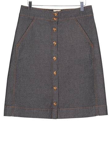 Button Through Skirt - Denim