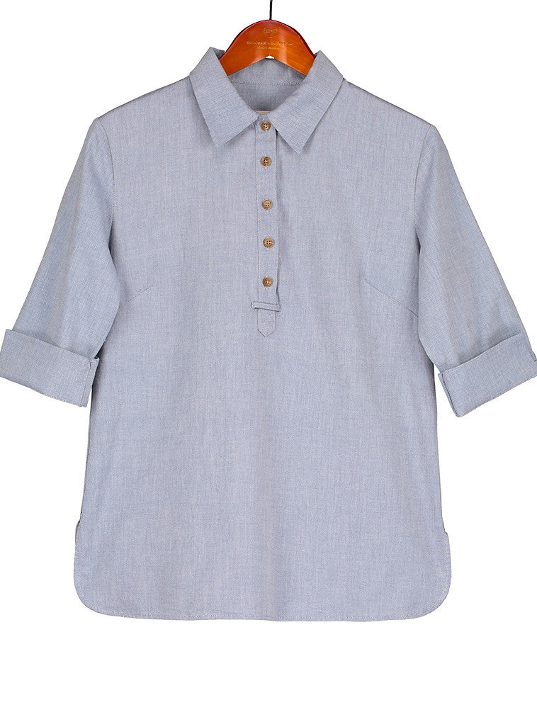 SAFARI SHIRT IN Sky Blue Cotton Shirting