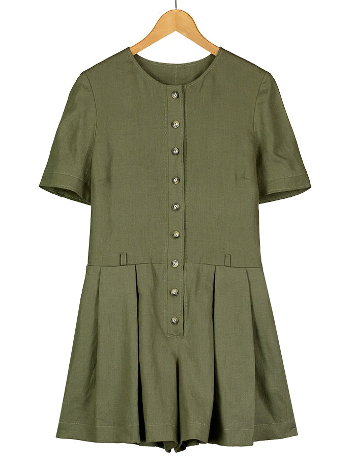 Olive Linen Playsuit, Dress, Hickman & Bousfied - Hickman & Bousfield, Safari and Travel Clothing