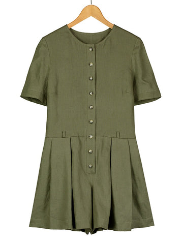 Olive Linen Playsuit