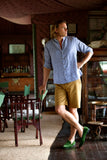 MEN'S COLLARLESS SHIRT in Vintage Stripe Linen, Shirt, Hickman & Bousfield - Hickman & Bousfield, Safari and Travel Clothing
