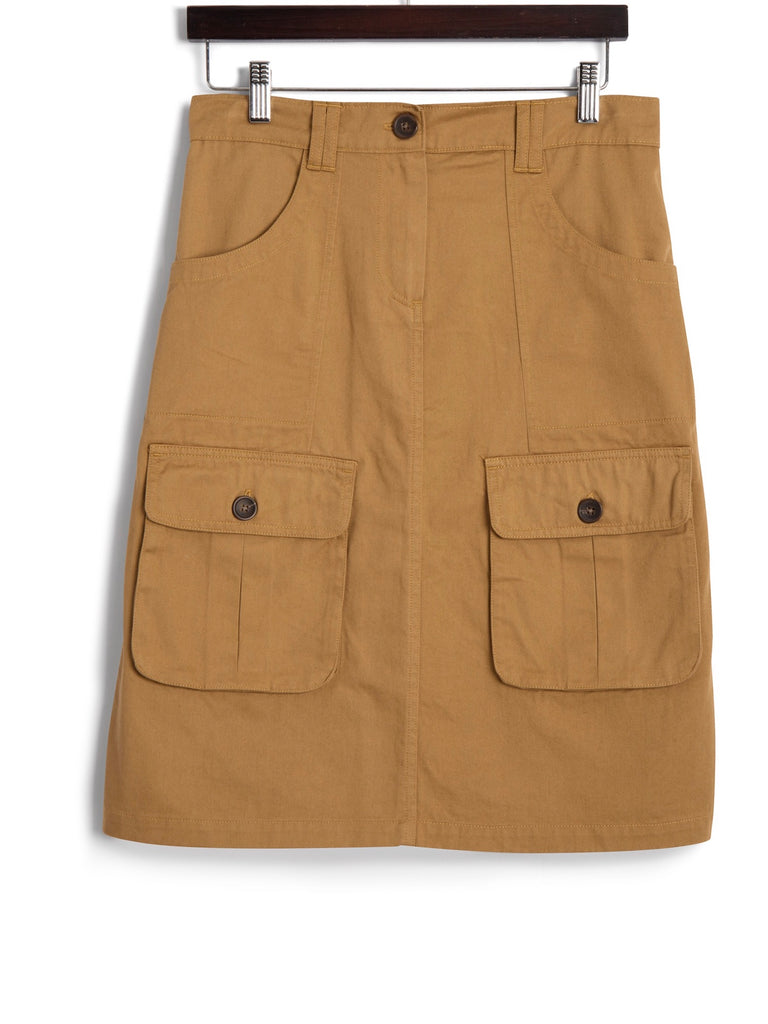 Front Pocket Skirt in Khaki Twill, Dress, Hickman & Bousfield - Hickman & Bousfield, Safari and Travel Clothing