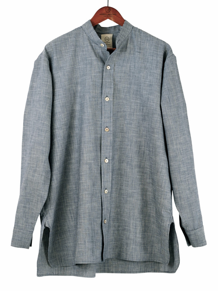 Collarless Shirt in Chambray Stripe, Hickman & Bousfield - Hickman & Bousfield