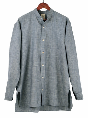 Collarless Shirt in Chambray Stripe