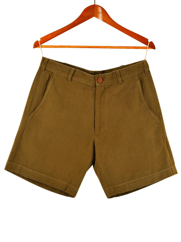 WOMEN'S MILITARY GREEN COTTON SHORTS, Hickman & Bousfield - Hickman & Bousfield