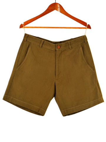 WOMEN'S MILITARY GREEN COTTON SHORTS