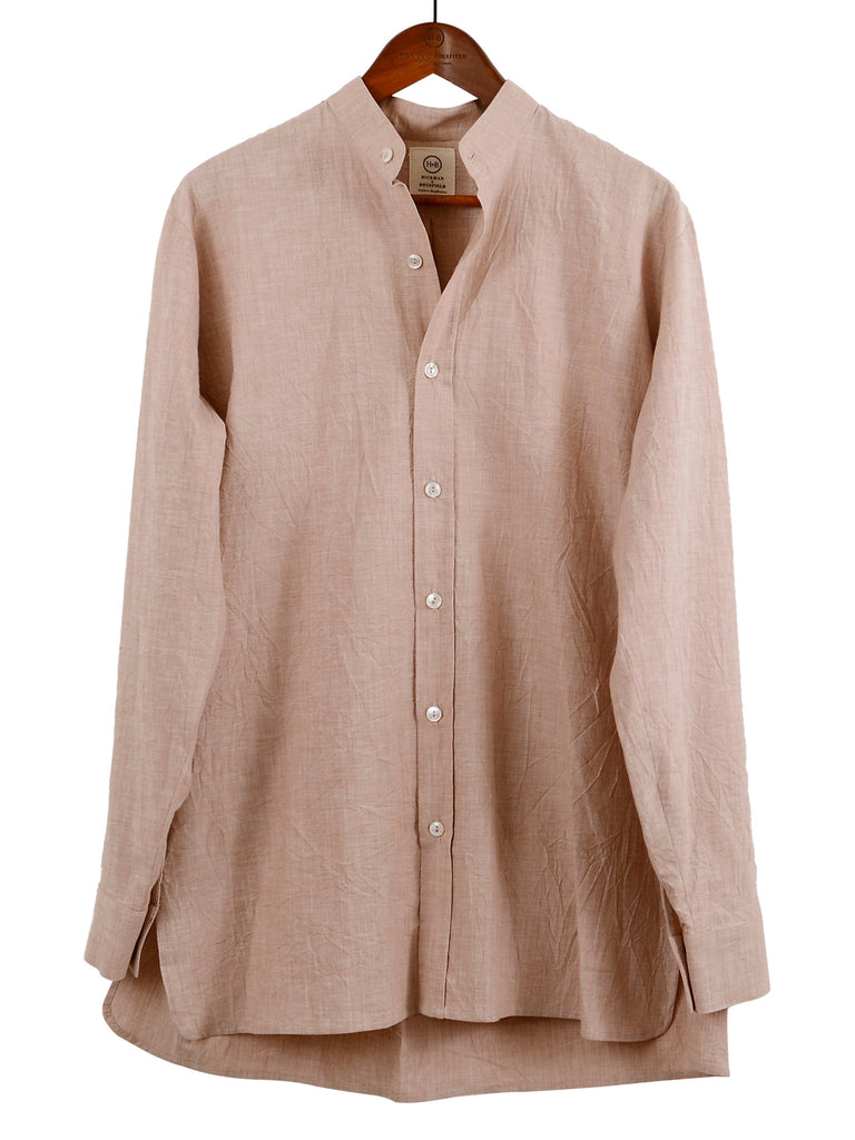 Collarless Shirt in Rose, Shirt, Hickman & Bousfield - Hickman & Bousfield, Safari and Travel Clothing