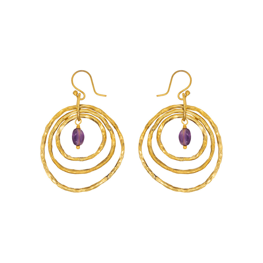 Che Shale Hoops with amethyst drops