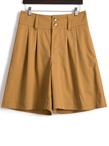 Pleat Front Shorts in Camel