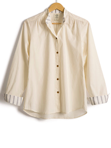 Grandad Shirt in Ivory Cotton,