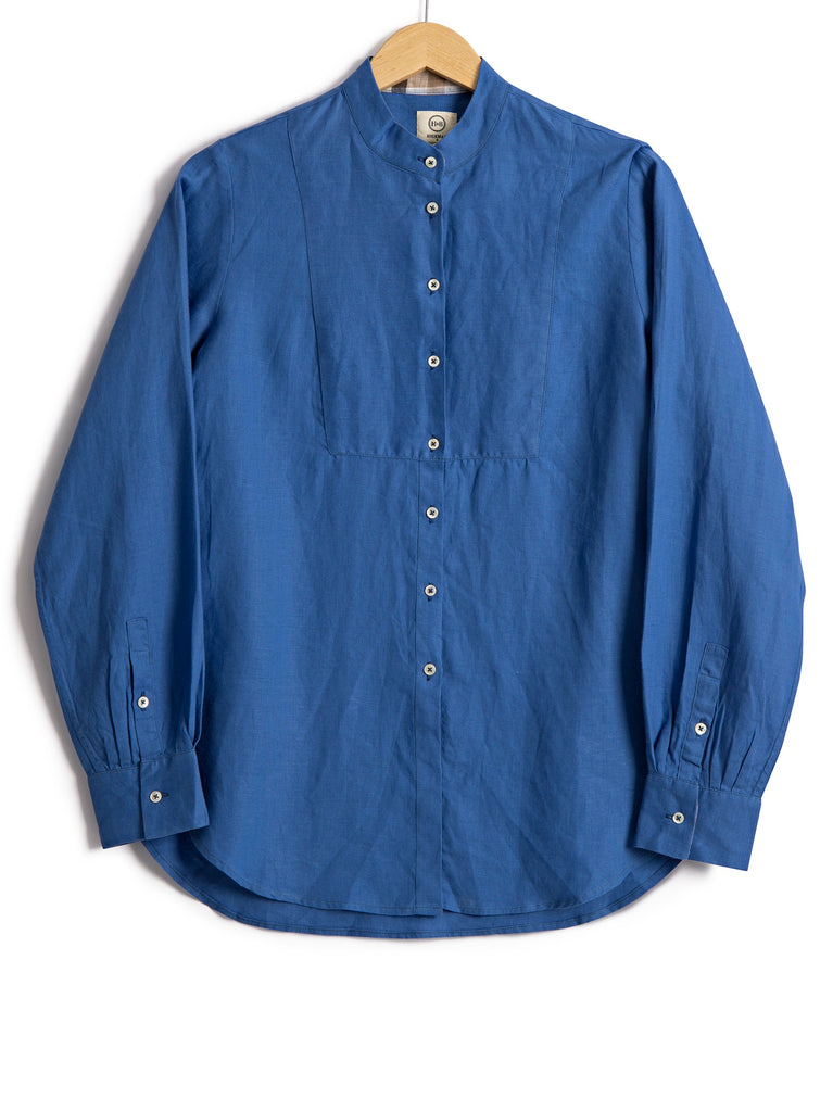 Bib Shirt in Persian Blue Linen, Shirt, Hickman & Bousfied - Hickman & Bousfield, Safari and Travel Clothing