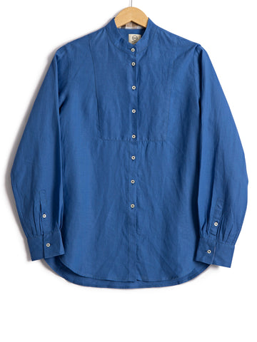 Bib Shirt in Persian Blue Linen