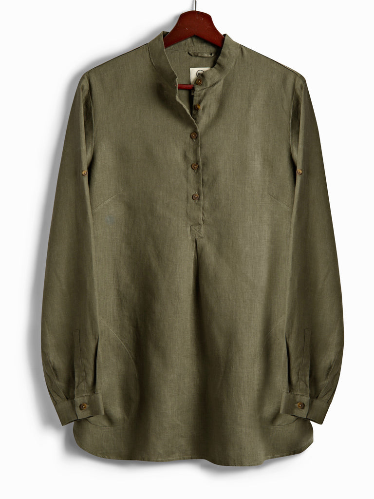 New Tunic in Olive Linen, Shirt, Hickman & Bousfield - Hickman & Bousfield, Safari and Travel Clothing