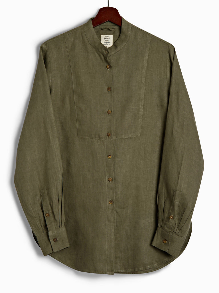 Bib Shirt in Olive Linen, Shirt, Hickman & Bousfied - Hickman & Bousfield, Safari and Travel Clothing